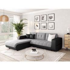 Canapé d'angle gauche convertible CLELIA, 4 places, tissu microfibre gris PU blanc ou noir