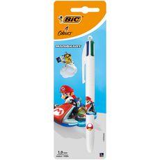 Stylo-bille rétractable pointe moyenne 4 couleurs MARIO KART - Mario