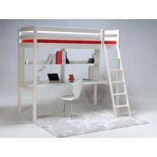 Lit Mezzanine 90 x190 cm en bois massif avec sommier et bureau CITY  (Blanchie)