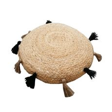 Coussin de sol rond en jute avec pompons  (Naturel)