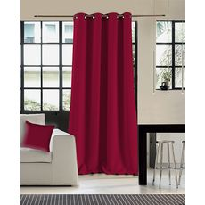 Rideau occultant double face en polyester (Rouge )