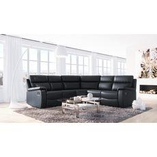 Canapé d'angle 6 places relax manuel simili HELENE