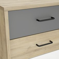 Commode 3 tiroirs pieds métal et poignées métal ALINE (Chêne Kronberg)