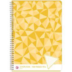 AUCHAN Cahier 21x29,7cm 100 pages petits carreaux 5x5 à spirale jaune motif triangles
