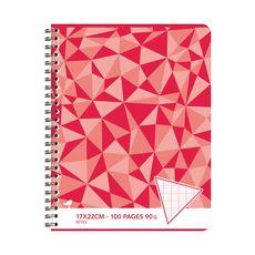 AUCHAN Cahier 17x22cm 100 pages grands carreaux Seyes à spirale rouge motif triangles