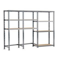 Concept rangement de garage MODULÖ STORAGE SYSTEME EXTENSION 3 étagères 10 plateaux longueur 240 cm