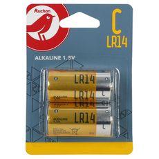 AUCHAN Piles C/LR14 alcalines 1.5v standard x2 2 pièces
