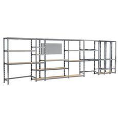 Concept rangement de garage MODULÖ STORAGE SYSTEME EXTENSION 6 étagères 24 plateaux longueur 605 cm pour garage