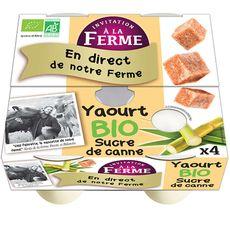 INVITATION A LA FERME Yaourt bio nature au sucre de canne 4x125g 4x125g