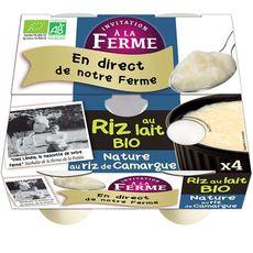 AUCHAN BIO INVITATION A LA FERME Riz de Camargue au lait bio 4x125g 4x125g