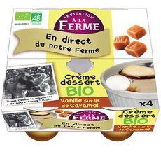 AUCHAN BIO INVITATION A LA FERME Crème dessert bio à la vanille sur lit de caramel 4x1 4x100g