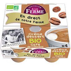 AUCHAN BIO INVITATION A LA FERME Crème dessert bio au café de Colombie 4x100g 4x100g