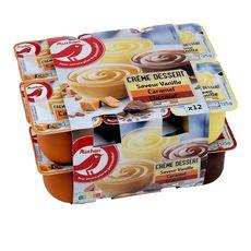 AUCHAN Crème dessert au chocolat, à la vanille et au caramel 12x100g