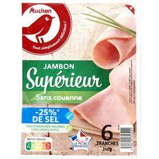 AUCHAN Jambon supérieur sans -25% de sel sans couenne 6 tranches 240g