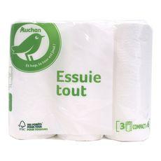 Auchan Essuie tout compact blanc x3