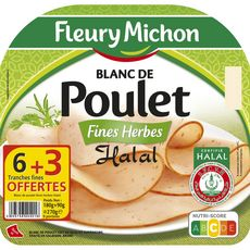 FLEURY MICHON Fleury Blancs de poulet fines herbes halal 6 tranches +3 offertes 270g