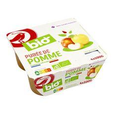 AUCHAN BIO Purée de pomme sans sucres ajoutés en coupelles 4x100g