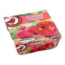 AUCHAN Spécialité pomme fraise 4x100g