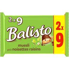 BALISTO Balisto Barres chocolatées au muesli noisettes et raisins 2x9 barres 333g 2x9 barres 333g