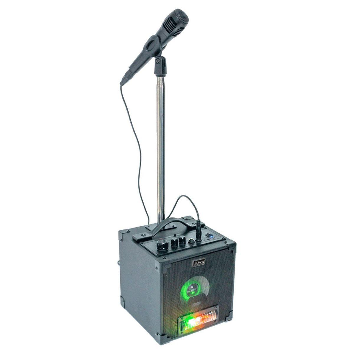 Kit Karaoké actif avec effet lumière, micro et pied - Noir - Party