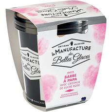LA MANUFACTURE DES BELLES GLACES Glace à la barbe à papa avec cristaux de sucre rose 300g