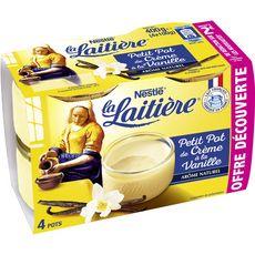LA LAITIERE Petit pot de crème saveur vanille 4x100g