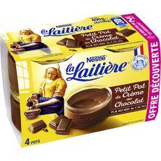 LA LAITIERE Petit pot de crème au chocolat 4x100g