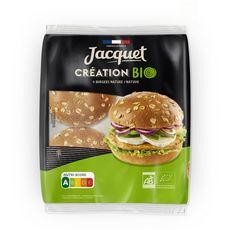 JACQUET Pain spécial pour hamburger flocons d'avoine bio 4 pains 260g