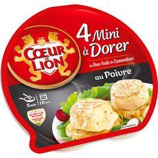 COEUR DE LION Fromage Minis à dorer au bon goût de Camembert poivre 4 portions 90g