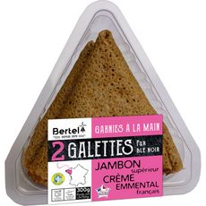 BERTEL Galettes garnies jambon crème et emmental 2 galettes 300g