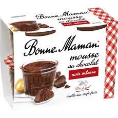 BONNE MAMAN Mousse au chocolat noir et aux œufs frais 4x50g