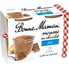 BONNE MAMAN Mousse au chocolat au lait et aux œufs frais 4x50g