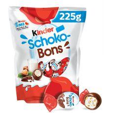 KINDER Schokobons bonbons chocolatés fourrés lait et noisettes 225g