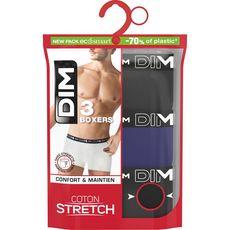 DIM Dim Boxers coton stretch noir taille 3 x3 3 pièces