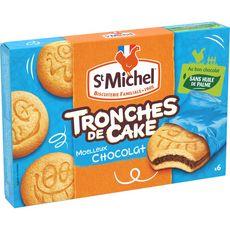ST MICHEL Tronches de cake gâteaux moelleux fourrés chocolat, sachets individuels 6 gâteaux 175g