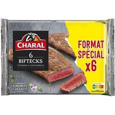 CHARAL Biftecks tendres et savoureux 6 pièces 600g