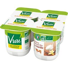 VRAI Yaourt bio à la vanille au lait de vache 4x125g