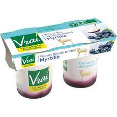 VRAI VRAI Yaourt bio sur lit de myrtille au lait de brebis 2x125g 2x125g