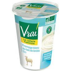 VRAI Fromage blanc bio au lait de brebis 400g