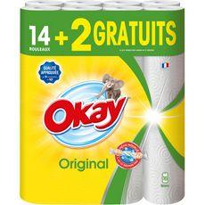 OKAY Original Essuie-tout blanc en rouleaux 16 rouleaux