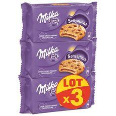 MILKA Cookies Sensations cœur fondant au chocolat 3 paquets 3X182g