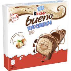 KINDER Bueno Barre glacée noisettes enrobée de chocolat au lait 4 barres 128g