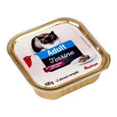 AUCHAN Adult barquette terrine de pâtée à l'agneau pour chat 100g