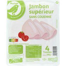 POUCE Jambon cuit supérieur sans couenne 4 tranches 200g