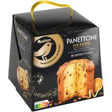 AUCHAN GOURMET Panettone pur beurre raisins secs écorces oranges confites 1 pièce 750g