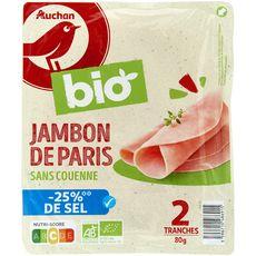 AUCHAN BIO Jambon Paris blanc sans couenne moins 25% de sel bio 2 tranches 80g