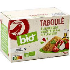 AUCHAN BIO Taboulé à l'huile d'olive vierge extra 3,4% et à la menthe 730g