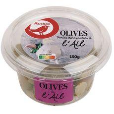 AUCHAN Olives vertes à l'ail dénoyautées 150g