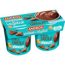 ANDROS Dessert végétal au lait d'amande et au chocolat 2x120g