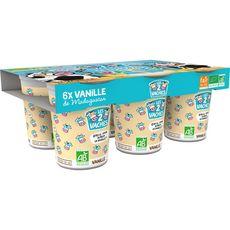 LES 2 VACHES Yaourt à boire aux fruits bio vanille avec paille 6x100g